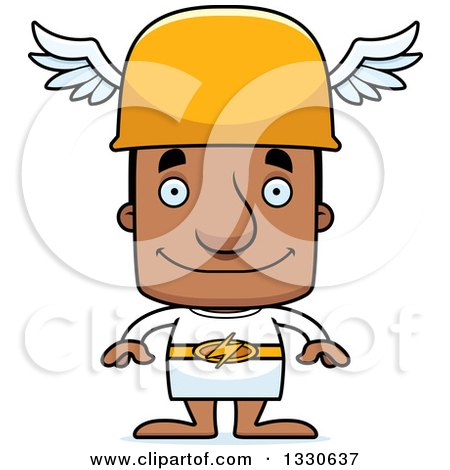 Clipart of a Cartoon Happy Block Headed Black Man Hermes - Royalty Free Vector Illustration by Cory Thoman
