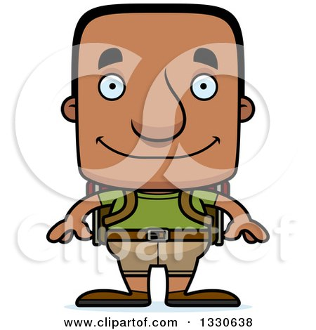 Clipart of a Cartoon Happy Block Headed Black Man Hiker - Royalty Free Vector Illustration by Cory Thoman