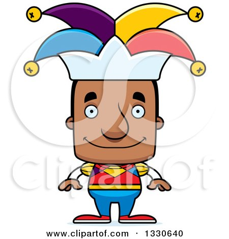Clipart of a Cartoon Happy Block Headed Black Man Jester - Royalty Free Vector Illustration by Cory Thoman