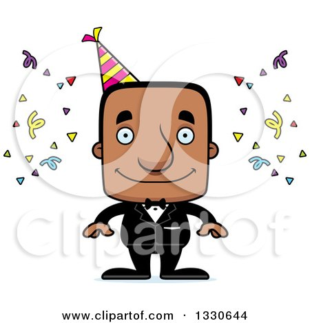 Clipart of a Cartoon Happy Block Headed Party Black Man - Royalty Free Vector Illustration by Cory Thoman