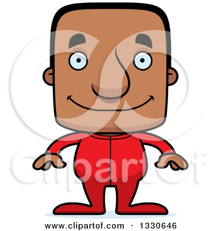 Clipart of a Cartoon Happy Block Headed Black Man in Pajamas - Royalty Free Vector Illustration by Cory Thoman