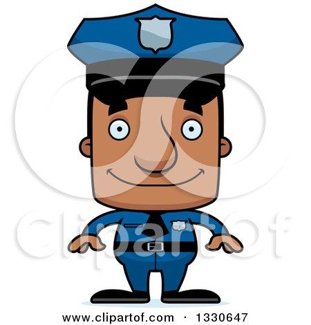Clipart of a Cartoon Happy Block Headed Black Man Police Officer - Royalty Free Vector Illustration by Cory Thoman