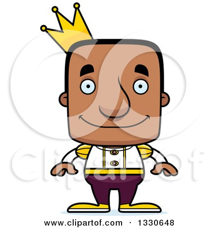 Clipart of a Cartoon Happy Block Headed Black Man Prince - Royalty Free Vector Illustration by Cory Thoman
