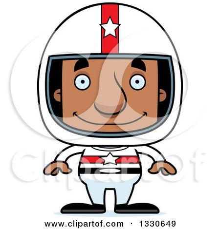 Clipart of a Cartoon Happy Block Headed Black Man Race Car Driver - Royalty Free Vector Illustration by Cory Thoman