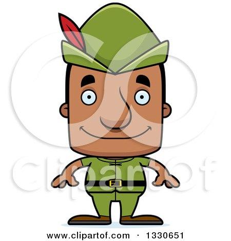 Clipart of a Cartoon Happy Block Headed Robin Hood Black Man - Royalty Free Vector Illustration by Cory Thoman