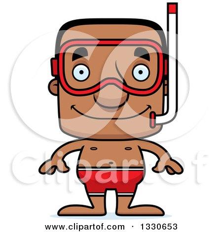 Clipart of a Cartoon Happy Block Headed Black Man in Snorkel Gear - Royalty Free Vector Illustration by Cory Thoman
