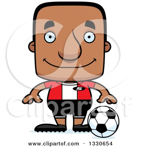 Clipart of a Cartoon Happy Block Headed Black Man Soccer Player - Royalty Free Vector Illustration by Cory Thoman