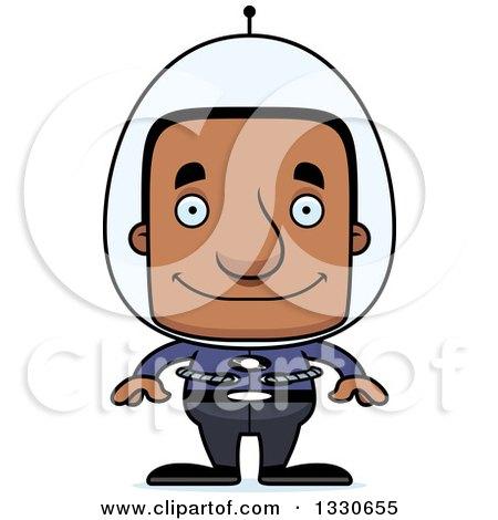 Clipart of a Cartoon Happy Block Headed Futuristic Spaceblack Man - Royalty Free Vector Illustration by Cory Thoman