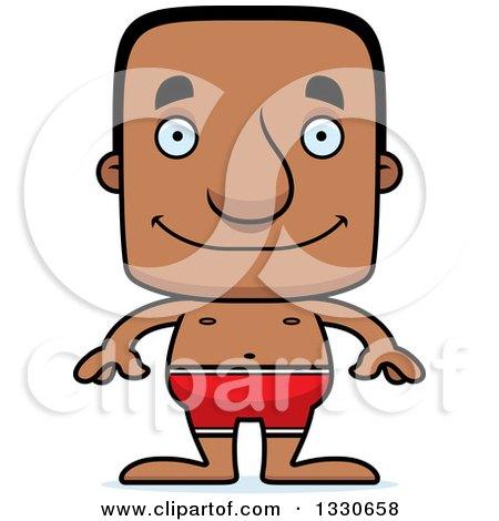 Clipart of a Cartoon Happy Block Headed Black Man Swimmer - Royalty Free Vector Illustration by Cory Thoman