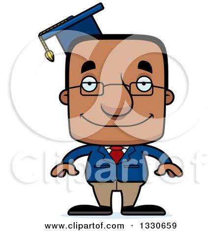 Clipart of a Cartoon Happy Block Headed Black Man Professor - Royalty Free Vector Illustration by Cory Thoman