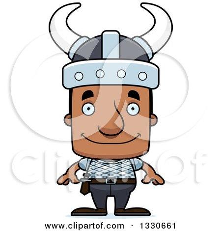 Clipart of a Cartoon Happy Block Headed Black Man Viking - Royalty Free Vector Illustration by Cory Thoman