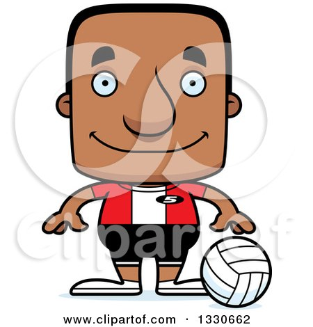 Clipart of a Cartoon Happy Block Headed Black Man Volleyball Player - Royalty Free Vector Illustration by Cory Thoman