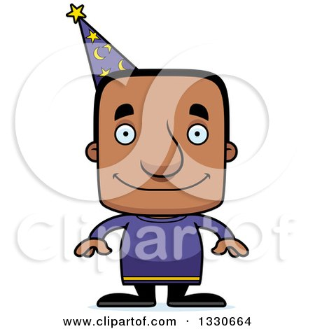 Clipart of a Cartoon Happy Block Headed Black Man Wizard - Royalty Free Vector Illustration by Cory Thoman