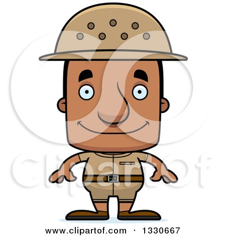 Clipart of a Cartoon Happy Block Headed Black Man Zookeeper - Royalty Free Vector Illustration by Cory Thoman