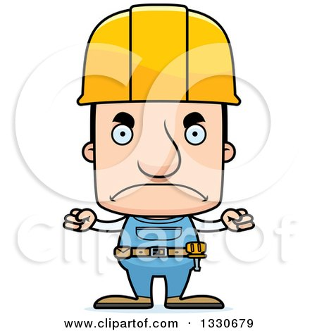Clipart of a Cartoon Mad Block Headed White Man Construction Worker - Royalty Free Vector Illustration by Cory Thoman