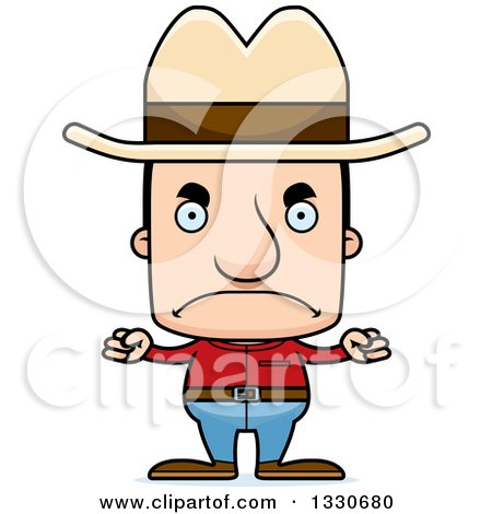 Clipart of a Cartoon Mad Block Headed White Man Cowboy - Royalty Free Vector Illustration by Cory Thoman