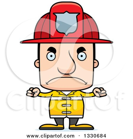 Clipart of a Cartoon Mad Block Headed White Man Firefighter - Royalty Free Vector Illustration by Cory Thoman