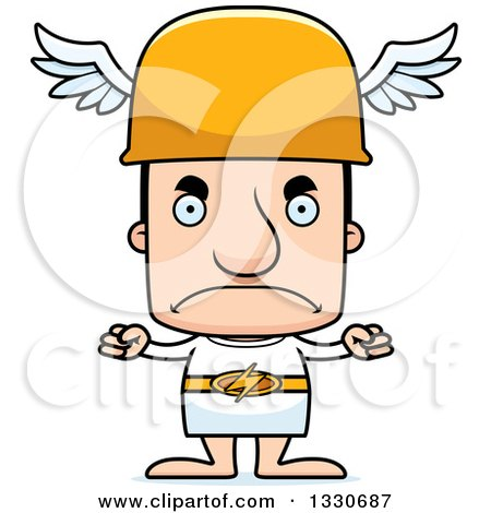 Clipart of a Cartoon Mad Block Headed White Man Hermes - Royalty Free Vector Illustration by Cory Thoman