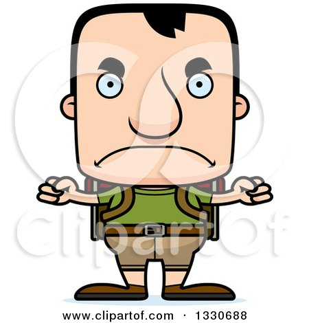 Clipart of a Cartoon Mad Block Headed White Man Hiker - Royalty Free Vector Illustration by Cory Thoman