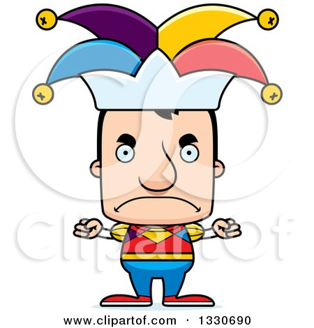 Clipart of a Cartoon Mad Block Headed White Man Jester - Royalty Free Vector Illustration by Cory Thoman