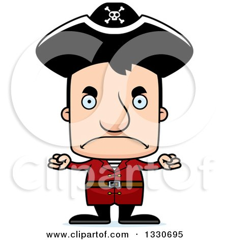 Clipart of a Cartoon Mad Block Headed White Man Pirate - Royalty Free Vector Illustration by Cory Thoman