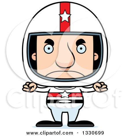 Clipart of a Cartoon Mad Block Headed White Man Race Car Driver - Royalty Free Vector Illustration by Cory Thoman