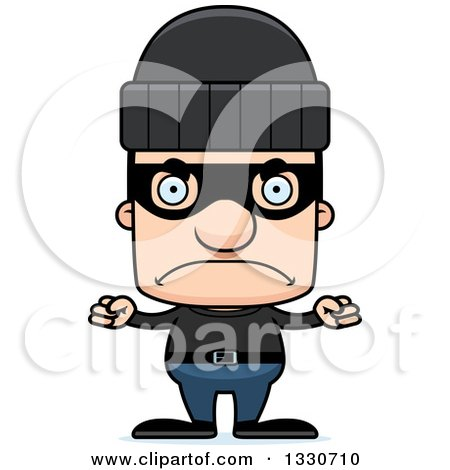 Clipart of a Cartoon Mad Block Headed White Man Burglar - Royalty Free Vector Illustration by Cory Thoman