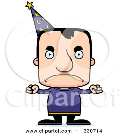 Clipart of a Cartoon Mad Block Headed White Man Wizard - Royalty Free Vector Illustration by Cory Thoman