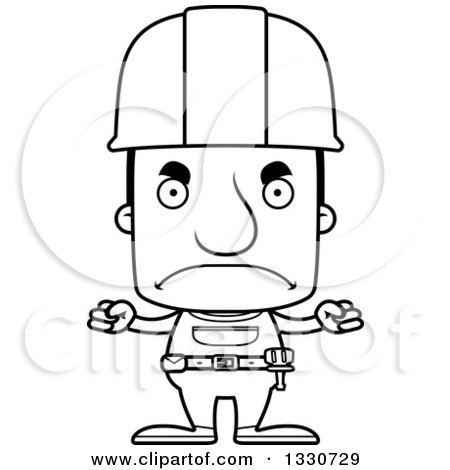 Lineart Clipart of a Cartoon Black and White Mad Block Headed White Man Construction Worker - Royalty Free Outline Vector Illustration by Cory Thoman