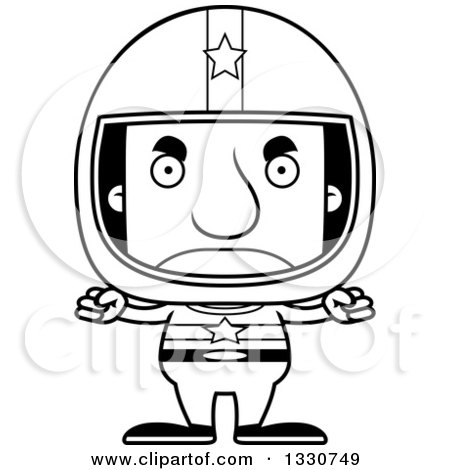 Lineart Clipart of a Cartoon Black and White Mad Block Headed White Man Race Car Driver - Royalty Free Outline Vector Illustration by Cory Thoman