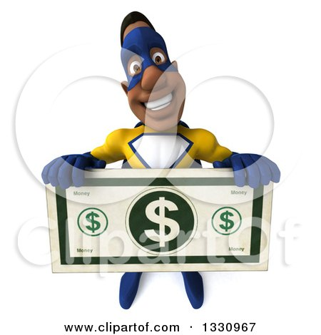 Clipart of a 3d Muscular Black Male Super Hero in a Yellow and Blue Suit, Holding up a Giant Dollar Bill - Royalty Free Illustration by Julos