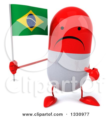 Clipart of a 3d Unhappy Red and White Pill Character Holding and Pointing to a Brazilian Flag - Royalty Free Illustration by Julos