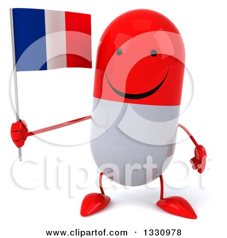 Clipart of a 3d Happy Red and White Pill Character Holding a French Flag - Royalty Free Illustration by Julos