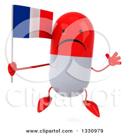 Clipart of a 3d Unhappy Red and White Pill Character Jumping and Holding a French Flag - Royalty Free Illustration by Julos