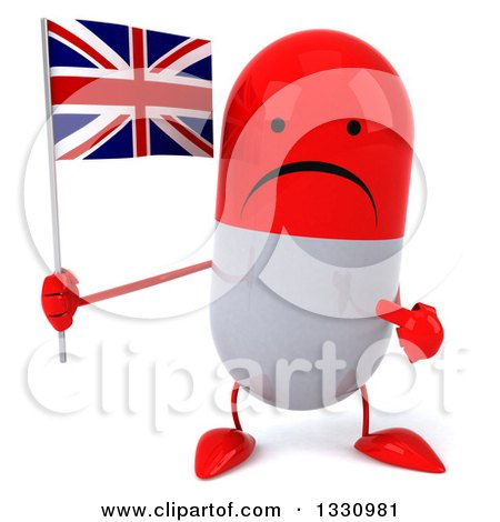 Clipart of a 3d Unhappy Red and White Pill Character Holding and Pointing to a British Union Jack Flag - Royalty Free Illustration by Julos