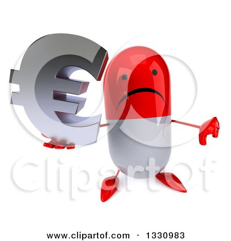 Clipart of a 3d Unhappy Red and White Pill Character Holding up a Thumb down and Euro Symbol - Royalty Free Illustration by Julos