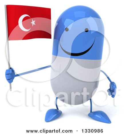 Clipart of a 3d Happy Blue and White Pill Character Holding a Turkish Flag - Royalty Free Illustration by Julos