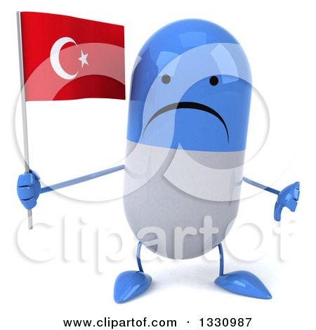 Clipart of a 3d Unhappy Blue and White Pill Character Giving a Thumb down and Holding a Turkish Flag - Royalty Free Illustration by Julos