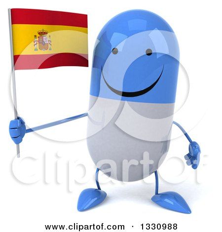 Clipart of a 3d Happy Blue and White Pill Character Holding a Spanish Flag - Royalty Free Illustration by Julos