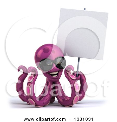 Clipart of a 3d Happy Purple Octopus Wearing Sunglasses and Holding a Blank Sign - Royalty Free Illustration by Julos