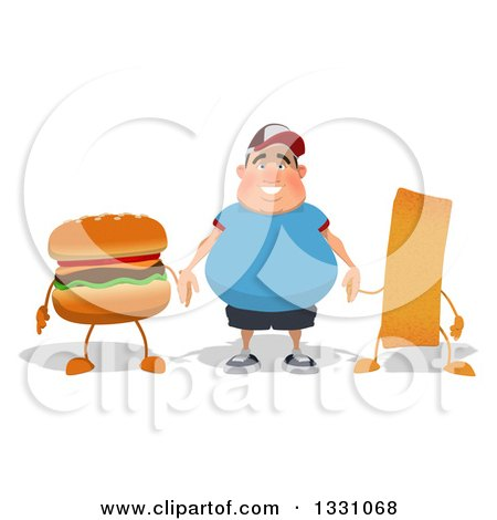 Clipart of a Cartoon Happy Fat White Guy Holding Hands with a Hamburger and French Fry - Royalty Free Illustration by Julos