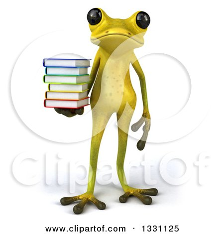 Clipart of a 3d Light Green Springer Frog Holding a Stack of Books - Royalty Free Illustration by Julos
