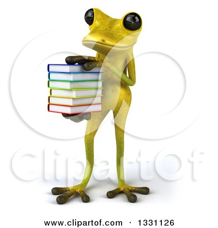 Clipart of a 3d Light Green Springer Frog Holding and Resting a Hand on a Stack of Books - Royalty Free Illustration by Julos
