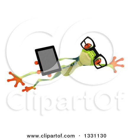 Clipart of a 3d Bespectacled Argie Frog Leaping to the Right and Holding a Smart Phone or Tablet Computer - Royalty Free Illustration by Julos