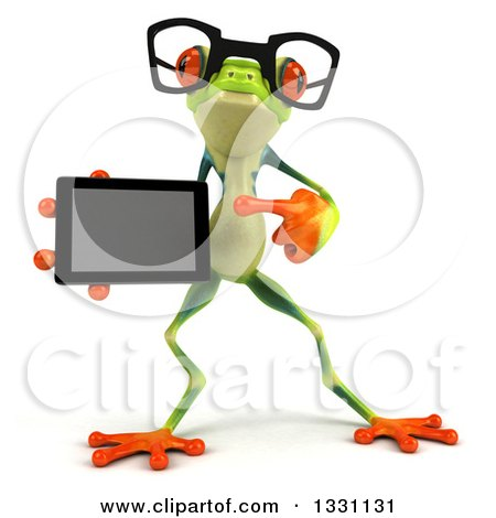 Clipart of a 3d Bespectacled Argie Frog Pointing to and Holding a Smart Phone or Tablet Computer 2 - Royalty Free Illustration by Julos