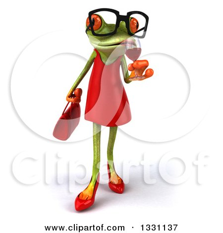Clipart of a 3d Bespectacled Green Female Springer Frog Sipping a Glass of Red Wine - Royalty Free Illustration by Julos
