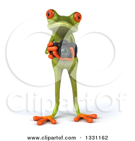Clipart of a 3d Green Springer Frog Taking Pictures with a Camera - Royalty Free Illustration by Julos