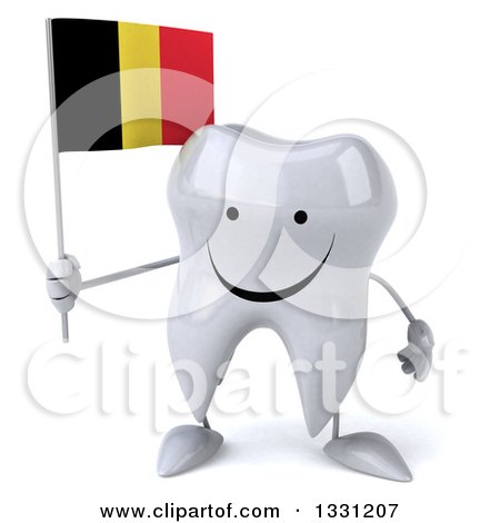Clipart of a 3d Happy Tooth Character Holding a Belgian Flag - Royalty Free Illustration by Julos