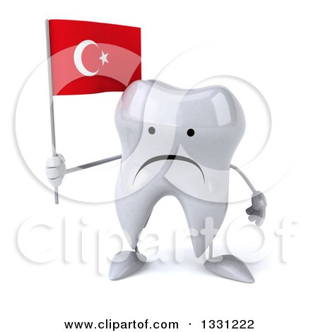 Clipart of a 3d Unhappy Tooth Character Holding a Turkish Flag - Royalty Free Illustration by Julos
