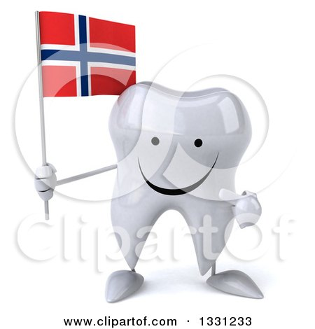 Clipart of a 3d Happy Tooth Character Holding and Pointing to a Norwegian Flag - Royalty Free Illustration by Julos